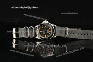 Submariner Vintage SS Black Dial on Grey Nylon Strap - A2813/A2836