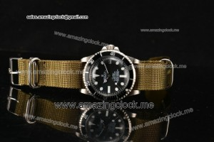 Submariner Vintage SS Black Dial on Army Green Nylon Strap - A2813/A2836