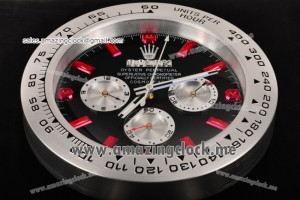 Daytona Style Wall Clock SS Black Dial Red Markers - Swiss Quartz