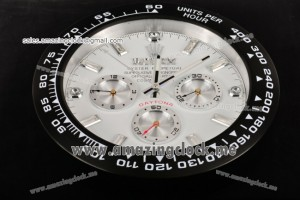 Daytona Style Wall Clock PVD White Dial Diamonds Markers - Swiss Quartz