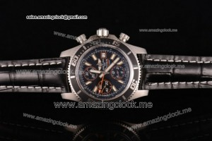 Superocean Chronograph II SS Black Dial Black Leather - A7750