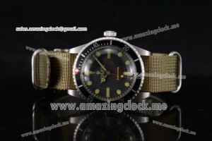 Submariner Vintage Officially Certified Chronometer SS Black Dial Army Green Nylon Strap - A2813