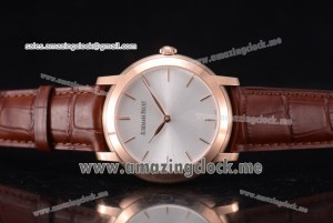 Jules Audemars RG Silver Dial Brown Leather - A3120