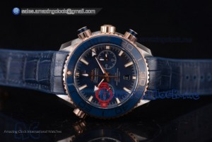 Seamaster Planet Ocean 600M Co-Axial Chrono SS Blue Dial Blue Leather - Clone Omega 9301 (EF)