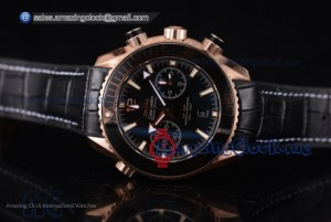 Seamaster Planet Ocean 600M Co-Axial Chrono RG Black Dial Black Leather - Clone Omega 9301(EF)