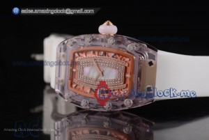 RM 07-02 Pink Sapphire Blue MOP Dial White Rubber - Miyota 9015
