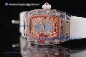 RM 07-02 Blue MOP Dial Pink Sapphire White Rubber - Miyota 9015