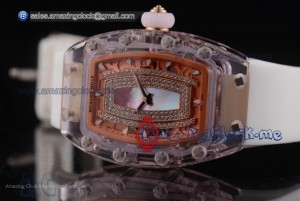 RM 07-02 Blue MOP Dial White Rubber Pink Sapphire Watch - Miyota 9015