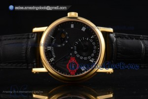 Classique Power Reserve YG Black Dial Black Leather Strap - Sea-Gull ST2153