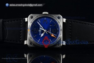 Bell&Ross BR 03-93 GMT SS Blue Dial Black Leather - Swiss ETA 2836