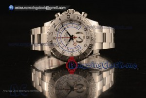 1:1 Rolex Yacht-Master II Chrono SS White Dial - A7750 (JF)