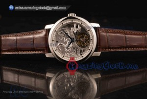 Traditionelle Minute Repeater Tourbillon Steel Gray Dial Brown Leather - Swiss Tourbillon Manual Winding