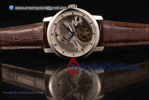 Traditionelle Minute Repeater Tourbillon Steel Brown Leather Gray Dial - Swiss Tourbillon Manual Winding