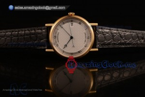 Classique Yellow Gold White Dial Black Leather - 9015 Auto (AAAF)