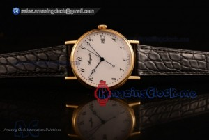 Classique Yellow Gold Black Leather White Dial - 9015 Auto (AAAF)