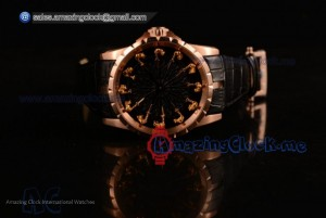 Excalibur Knights of the Round Table II Rose Gold Black Jade Dial - Citizen 6T51 Manual Winding (AAAF)