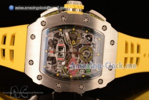 RM11-03 SS Yellow Rubber Strap - Swiss Valjoux 7750 Automatic(KV)