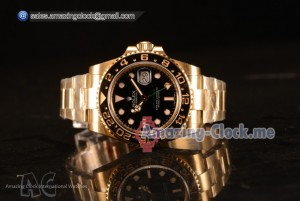 Rolex GMT-Master II Clone Rolex 3135 Automatic Yellow Gold Case With Ceramic Bezel Black Dial 116718 BK (BP)