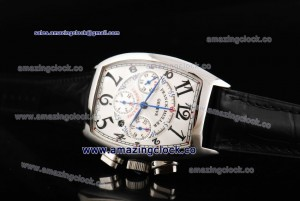 Casablanca Chrono 8885 C CC DT SS White Dial on Black Leather Strap - A7750