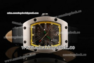 RM023 SS Skeleton Dial on Leather Strap - A2813