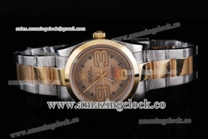 Oyster Perpetual No-Date 177300 TT Brown Dial on Two Tone Bracelet - A2813