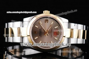 Oyster Perpetual No-Date 177201 TT Gray Dial on Two Tone Bracelet - A2813