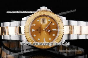 Yacht-Master 16623 ch TT Gold Dial on Two Tone Bracelet A2813
