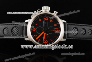 Flightdeck SS Red Markers Black Dial on Black Leather Strap - A7750/2936-F2-1
