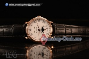 Villeret Miyota 9015 Automatic Rose Gold Case with White Dial Roman and Black Leather Strap (EF)
