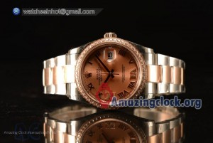 Datejust Rose Gold Dial With Diamond Bezel Two Tone Rolex3255
