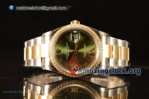 Datejust Green Dial With Diamond Bezel Two Tone YG/SS Rolex 3255